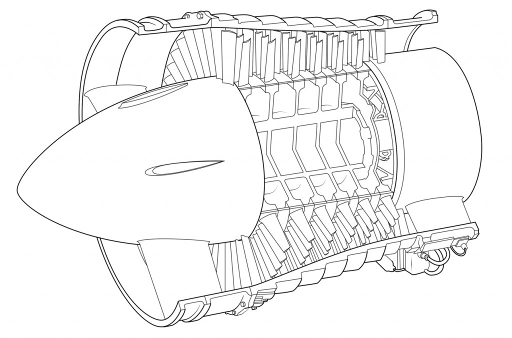 Low pressure axial compressor scheme of the Olympus BOl.1 turbojet. (Photo Credit: Wikipedia)