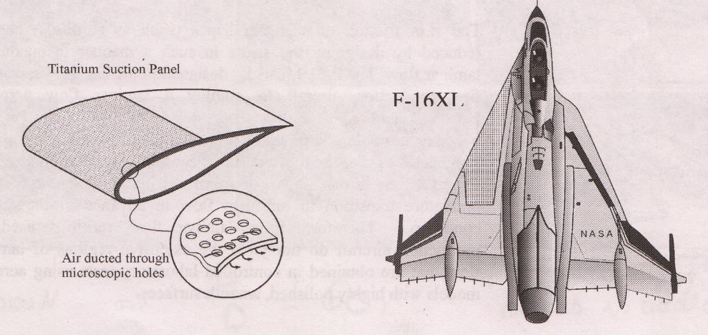 F-16 XL with suction panels to promote laminar flow